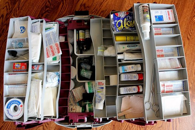 Dr. Mom To The Rescue~ Part 2: The Tackle Box First Aid and Wellness Kit   --- and she lists what all is in it - used for car trips/travel camping and at home! awesome idea! easy to find stuff too - better than the plastic tub i use now where everything is jumbled all the time