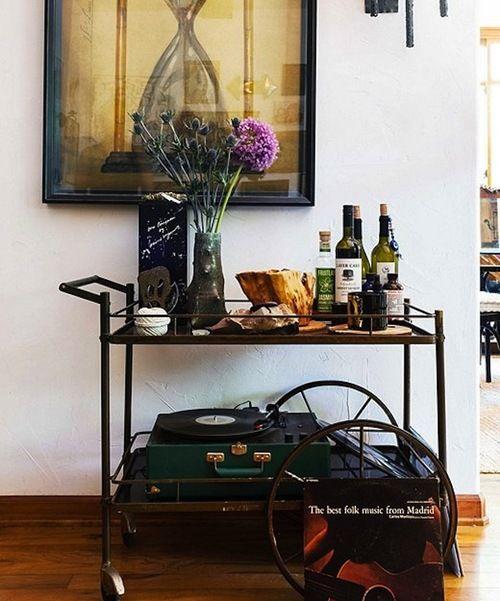 bar cart & record player