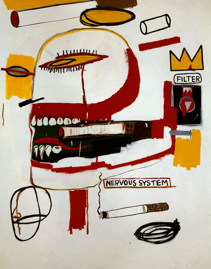 Jean-Michel Basquiat, Tabac, (1984), acrylic and oil on canvas, 219 x 173 cm, private collection