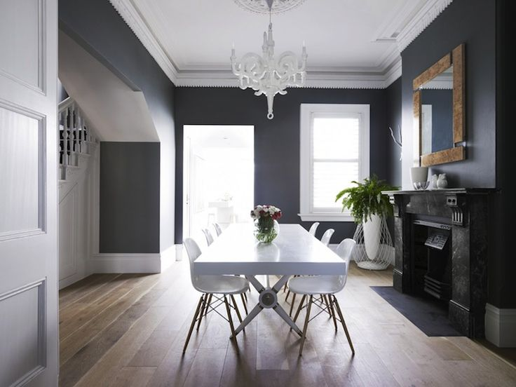 Stephanie Kraus Designs Blue And White Living Room A: Dining Room With Dark Gray Walls Paired With Crisp White