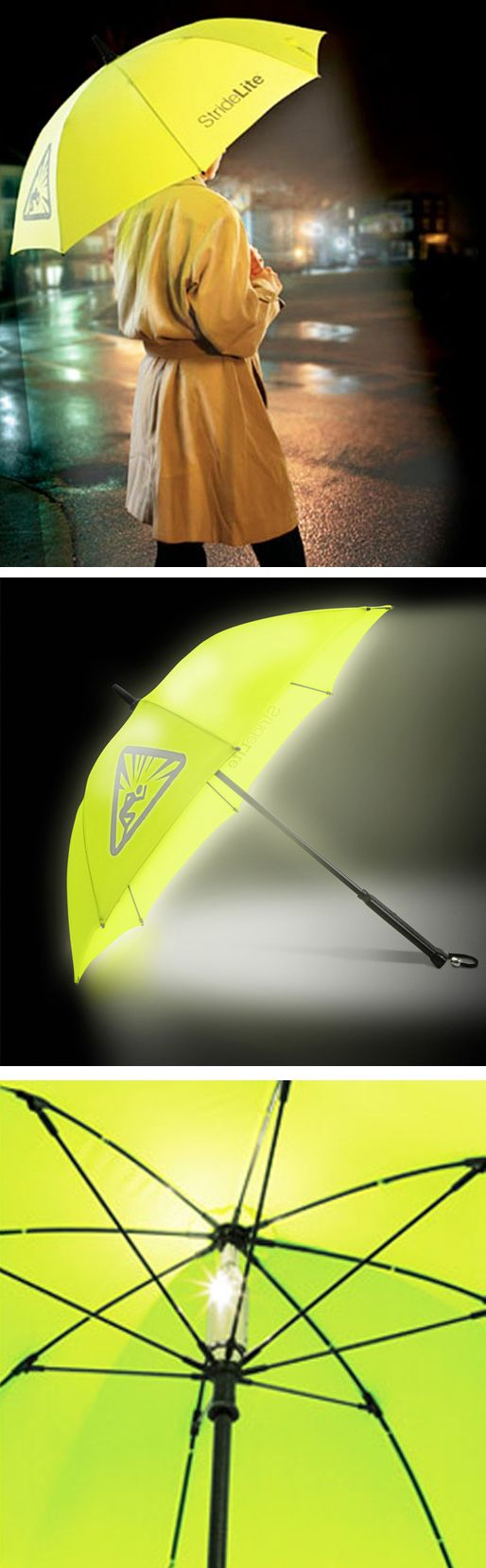 Stridelite Safety Umbrella // an #umbrella with a built-in light! Genius! Great idea... #productdesign