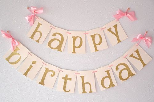 "Glitter Gold ""Happy Birthday"" banner is so irresistible! It can be such a chic party centerpiece for your pink and gold birthday party. You could hang one on your mantle, drape one behind the snack table or use it as a pre-party photo prop."