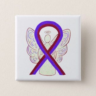 Purple and Burgundy Awareness Ribbon Angel Button - The purple and burgundy awareness ribbon means support for chronic migraines.  The burgundy ribbon is for migraine awareness and the purple ribbon is for chronic pain.  This ribbon combines both ribbons together meaning chronic migraines awareness.