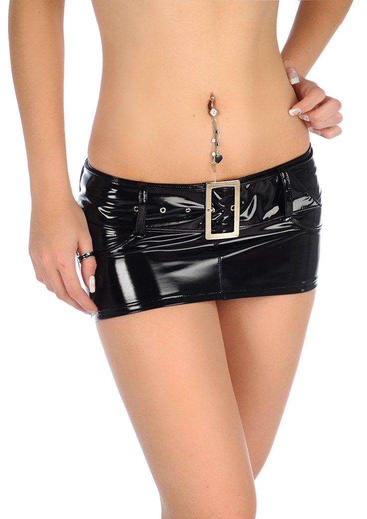 Sexy mm ultra-low-waisted shiny pvc mini short skirt slim tight hip short skirt € 28,33