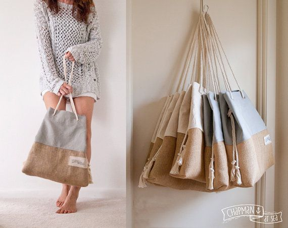 Canvas Tote WITH Lining // Large Beach Bag // Grey Khaki Natural Sandbag