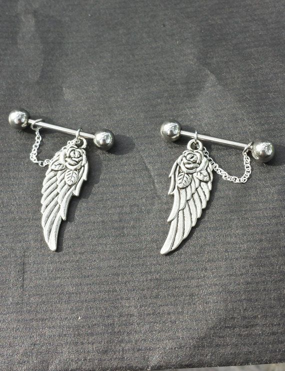 Wings SET OF 2 14G Barbell Nipple Rings on Etsy, $15.69 CAD