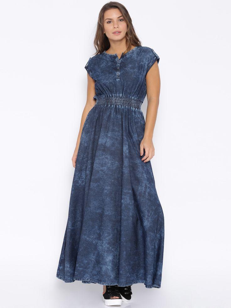 Blue Washed Denim Maxi Dress | Dresscab