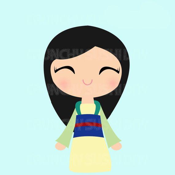 Princess Mulan, Chibi, Cute Kawaii Princess Digital Graphic, Clipart ...