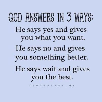 God Answers In Three Ways...