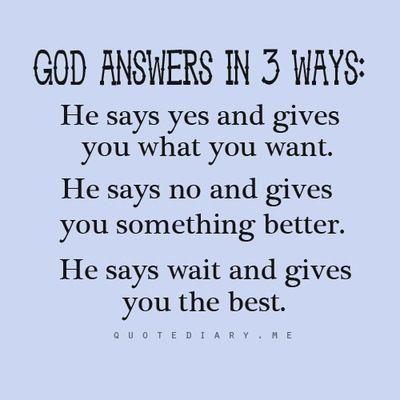 God Answers In Three Ways...