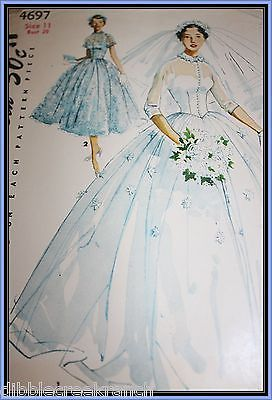 Simplicity 4697 C 1950's Junior Misses and Misses Bridal Gown Bridesmaid  Dress | eBay
