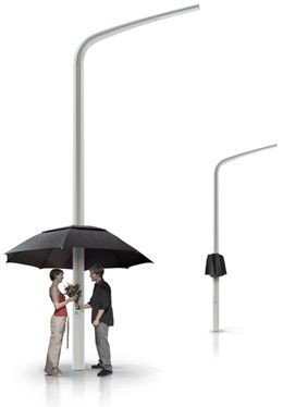 Street Lamp Transforms Into An Umbrella When It Rains, So simple.. Shelter