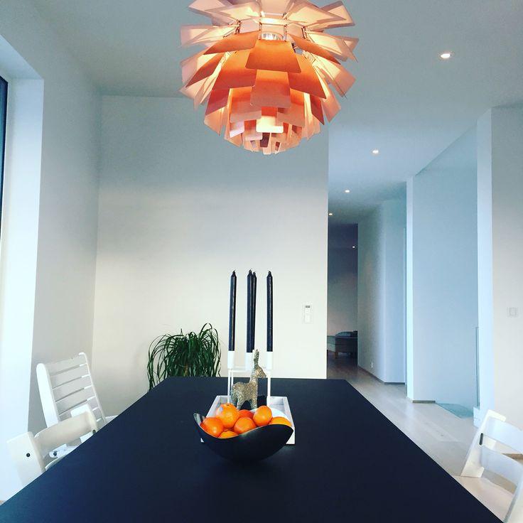 Dining room in the making. PH Kongle / Poul Henningsen /PH kogle lampe.