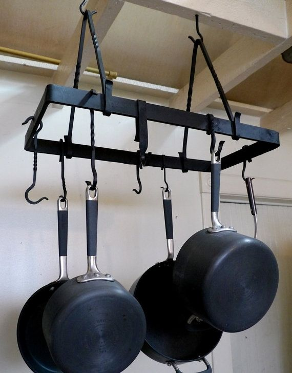 Hand Forged Rustic Pot Rack by StoneAndSteel on Etsy, $325.00