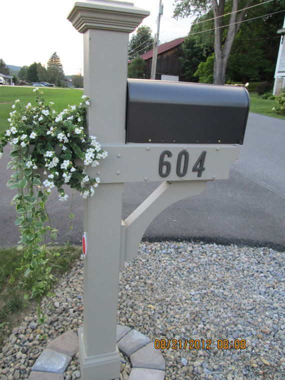Mailbox Post - Wooden with Planter box and Newspaper Bin.