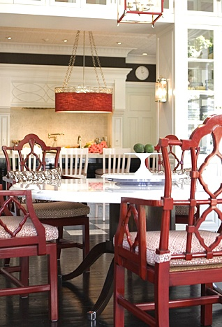 red dining chairs.... Encouraged to paint her dining chairs this color too and she loves it
