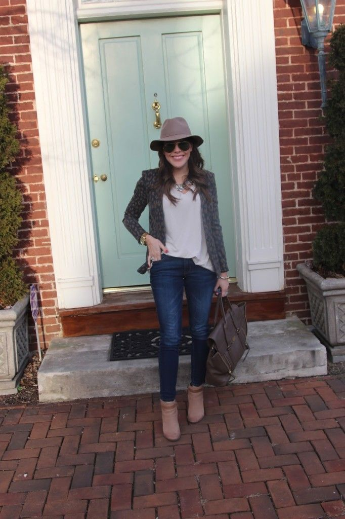 How to wear leopard print- www.glitterandgingham.com; Rachel Roy Blazer, Piko Tee, Old Navy Jeans, Dolce Vita Boots, 3.1 Phillip Lim Pashli, Lulu Frost Necklace, J. Crew Fedora, Ray-Ban Aviators, Michael Kors Runway Watch