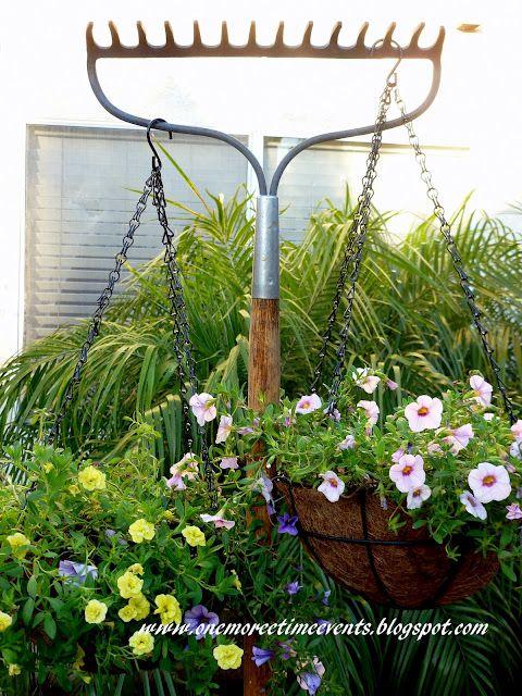 A RAKE ISN'T JUST FOR RAKING: Plants Hangers, Amazing Idea, Hanging Plants, Time Events, Gardens Idea, Awesome Idea, Gardens Outdoor Idea, Hanging Baskets, Gardens Growing