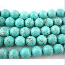 50 stuks natuursteen kralen 6mm blauw turquoise ronde losse kralen voor sieraden maken diy ketting armband bruiloft decoratie(China (Mainland))