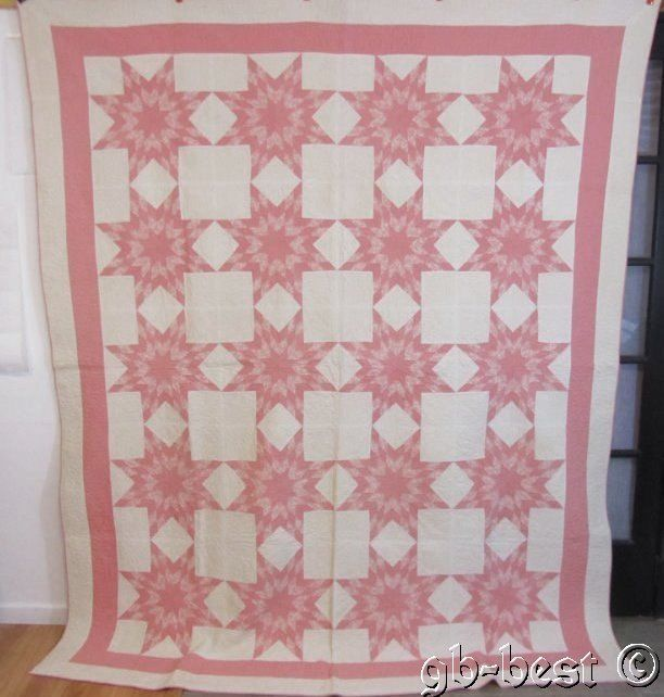 """TINY PIECES 30s Touching 20 Stars PINK Vintage Quilt 98 x 82"""" FINE QUILTING"""