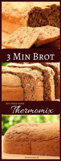 3 Minuten Brot backen - schnelles deutsches Rezept - mit oder ohne Thermomix *** So kann jeder Brot selber backen - mit Vollkorn!!! Homemade Bread Recipe - Quick & Easy