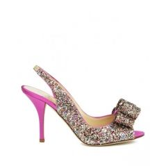 Kate Spade Charm - Open toe slingback glitter heels finished with a bow at the toe For a wedding or any other event where you want to shine, put on these vibrant pumps!