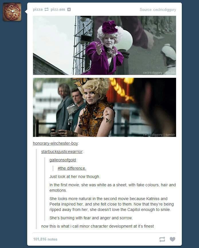 Effie Trinket.  She looks heartbroken in this scene.  I was hoping someone would mention this.