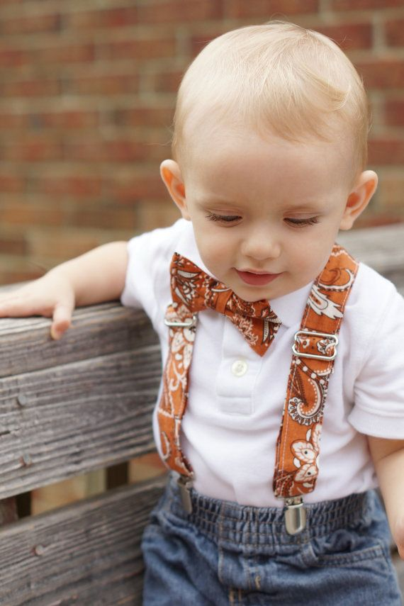 Baby Boy Suspenders Set- Rust Paisley- Toddler Suspender and Tie-Fall- Thanksgiving - Wedding - Holiday - Family Picture - Photography Prop