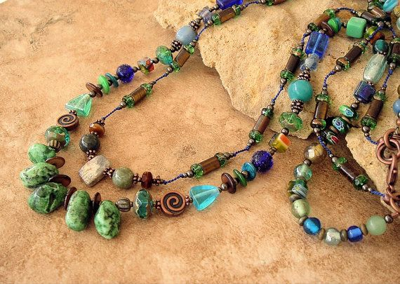 Boho Jewelry Colorful Blue/Green Double Strand by BohoStyleMe