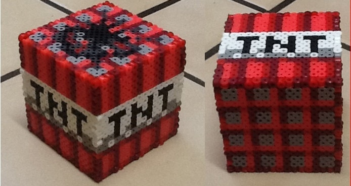 Perler Minecraft Bank 14 00 via Etsy Minecraft