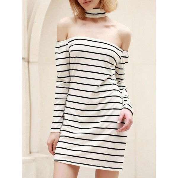 Chic Turtleneck Long Sleeve Striped Bodycon Dress For Women (23 BAM) ❤ liked on Polyvore featuring dresses, white dress, long sleeve dresses, stripe dresses, long sleeve turtleneck and white body con dress