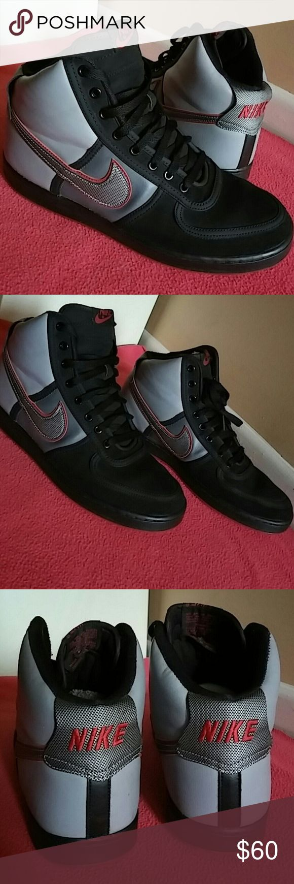 Nike Hightop Black Grey Red...LIKE NEW!! Only sign of use is the insoles....apart from that i can guarantee shoes rating as 9.5/10. Shoes has a very beautiful color combo and very attractive in general. WOMEN OF SIZE 13 can wear this...This is 200% Authentic nike product. Nike Shoes Sneakers
