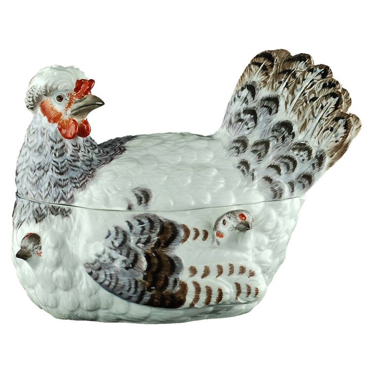19th Century Meissen Hand-Painted Porcelain Hen and Chicks Lidded Tureen | From a unique collection of antique and modern porcelain at https://www.1stdibs.com/furniture/dining-entertaining/porcelain/