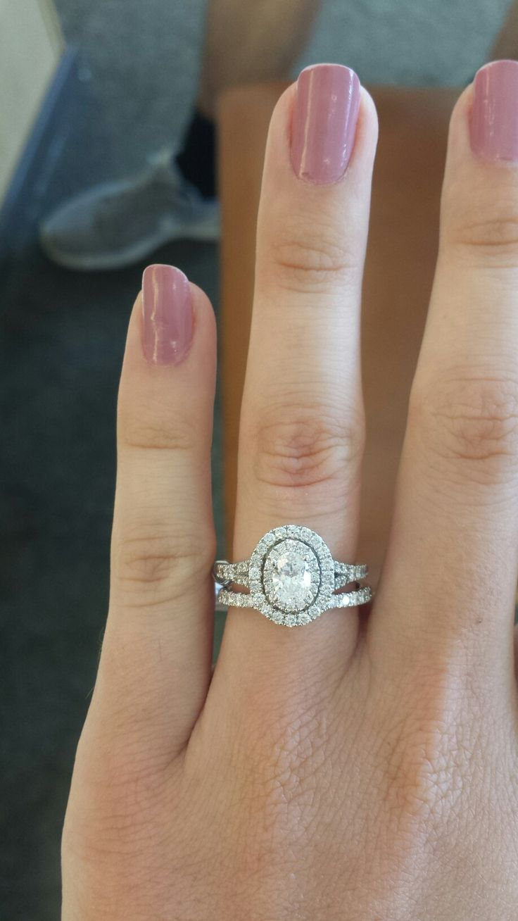 Oval Engagement Rings Wedding Band Double Halo