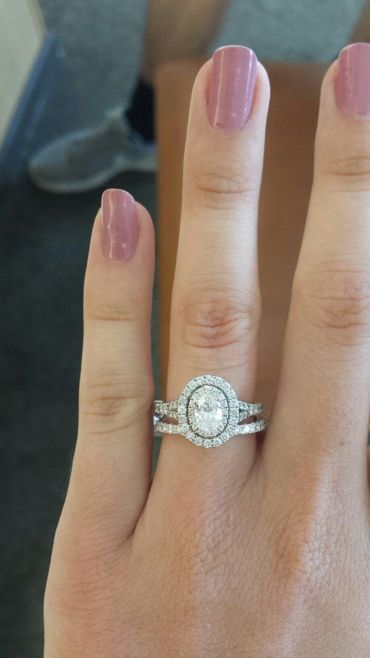 Neil Lane Dimond Oval Engagement Rings Wedding Band Double Halo