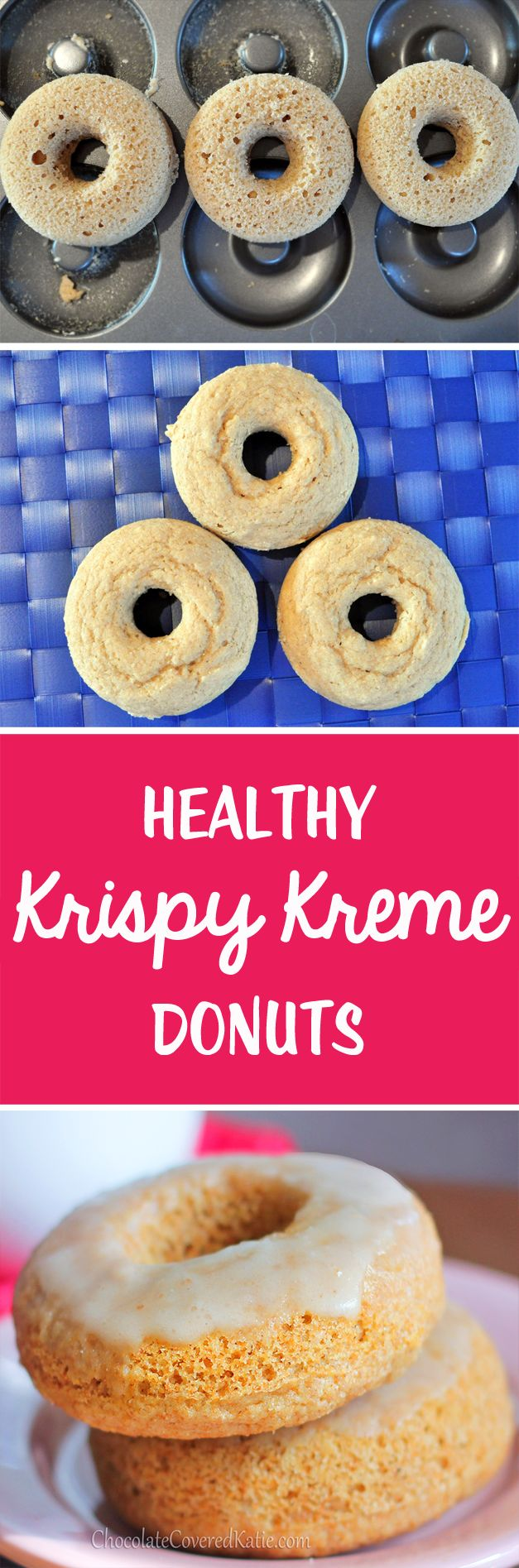 Healthy Krispy Kreme Donuts - 1 cup flour, 1 tsp vanilla extract, 1 1/2 tsp baking powder, 1/3 cup... Full recipe: http://chocolatecoveredkatie.com/2013/02/22/homemade-krispy-kreme-doughnuts-the-healthy-version/ @choccoveredkt