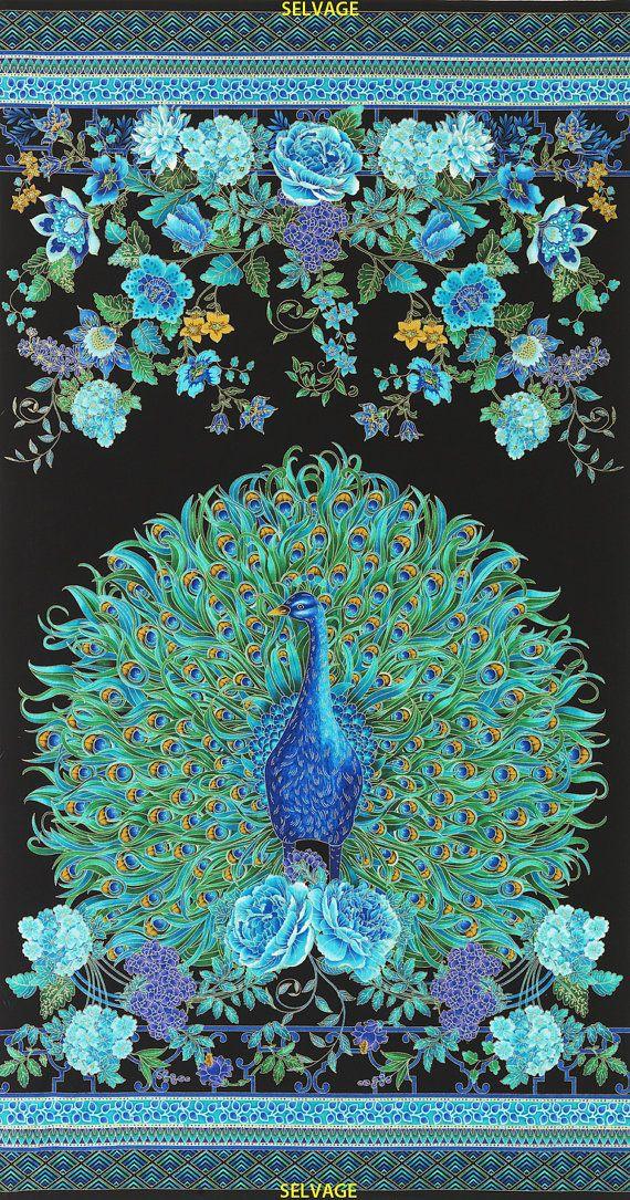 Timeless Treasures Beautiful Peacock Panel  24 by TheFabricCobbler