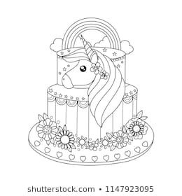 Unicorn cake coloring book for adult. Vector illustration ...