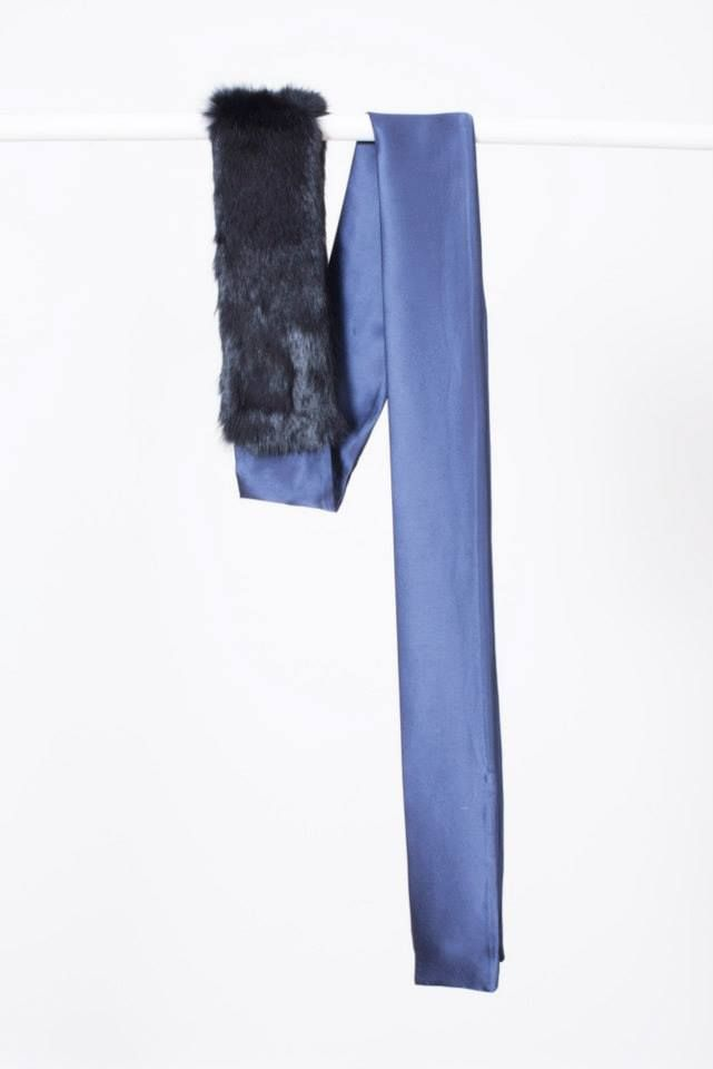 "MIDNIGHT BLUE SILK AND BLACK RABBIT FUR ""RIBBON"" SCARF // © MORECCO 2014"
