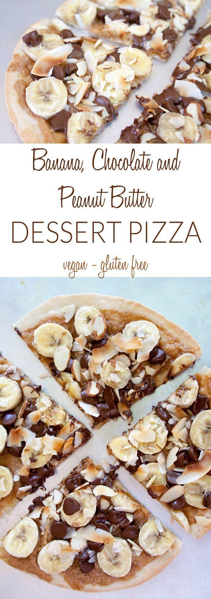 Pizza de postre de plátano, chocolate y mantequilla de maní (vegana, sin gluten) ...