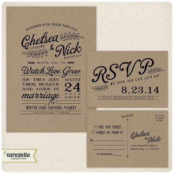 Hey, I found this really awesome Etsy listing at https://www.etsy.com/listing/158123071/rustic-kraft-wedding-invitation-and-rsvp