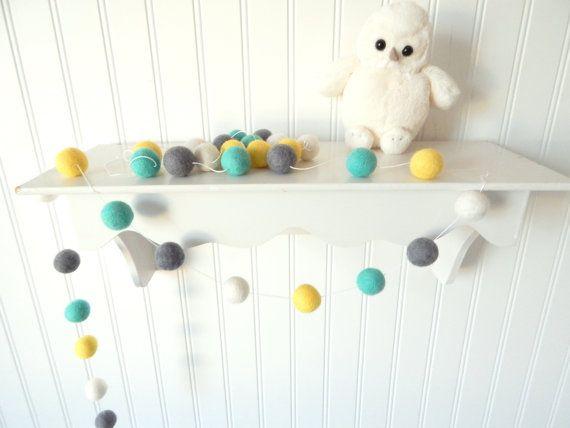 Baby Room Decor, Felt Ball Garland, Nursery Decor, Birthday Decor, Mint Nursery, Photography Prop, Baby Shower, Cake Smash, Mint, Gray, Grey
