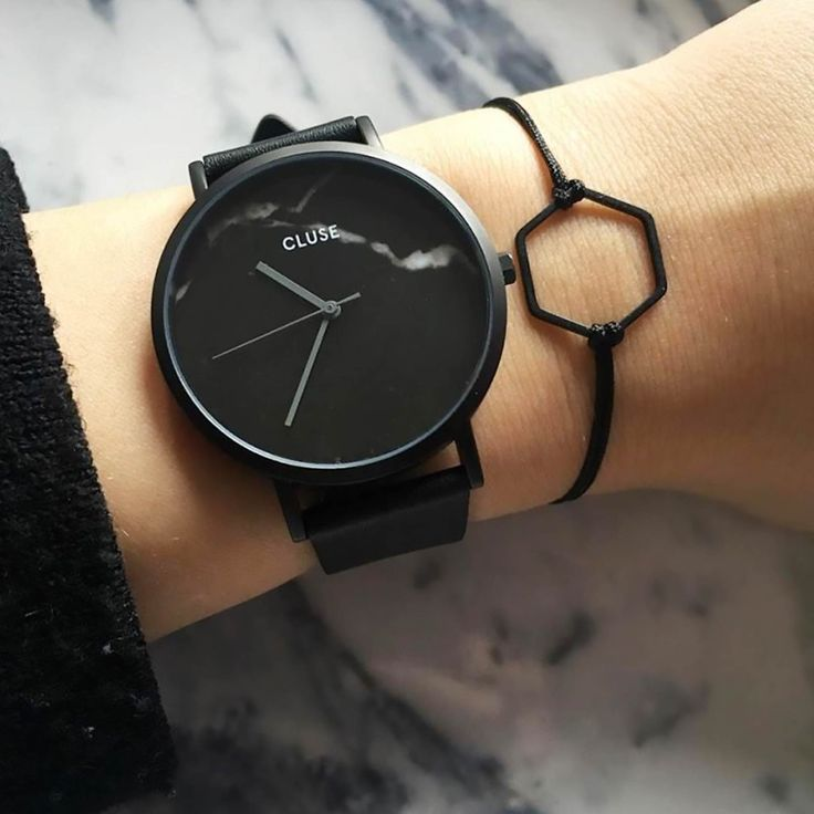 Black marble from Cluse. #watch #marble