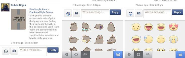 Facebook ha agregado al área de mensajes los emoticones y stickers para navegadores en móviles