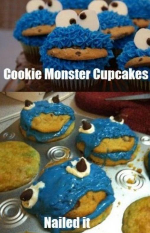 Cookie monster cupcakes......nailed it! #cupcakes #nailedit #food #funny