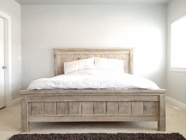 king farmhouse bed do it yourself home projects from ana white diy queen bed framediy - Queen White Bed Frame