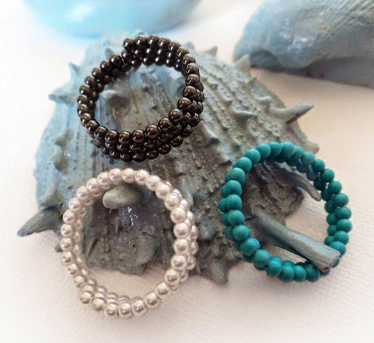KARMA: Adjustable size rings ❤     #Handmade #pearls #hematite #turquoise #ring