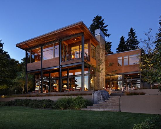 13 best images about nw contemporary on pinterest for Contemporary hillside house plans