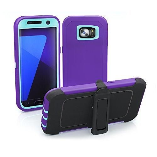 Galaxy S7 Edge Case ToughBox [Armor Series] [Shock Proof] [Purple | Aqua] for Samsung Galaxy S7 Edge Case [Built in Screen Protector] [Holster & Belt Clip] [Fits OtterBox Defender Series Clip]