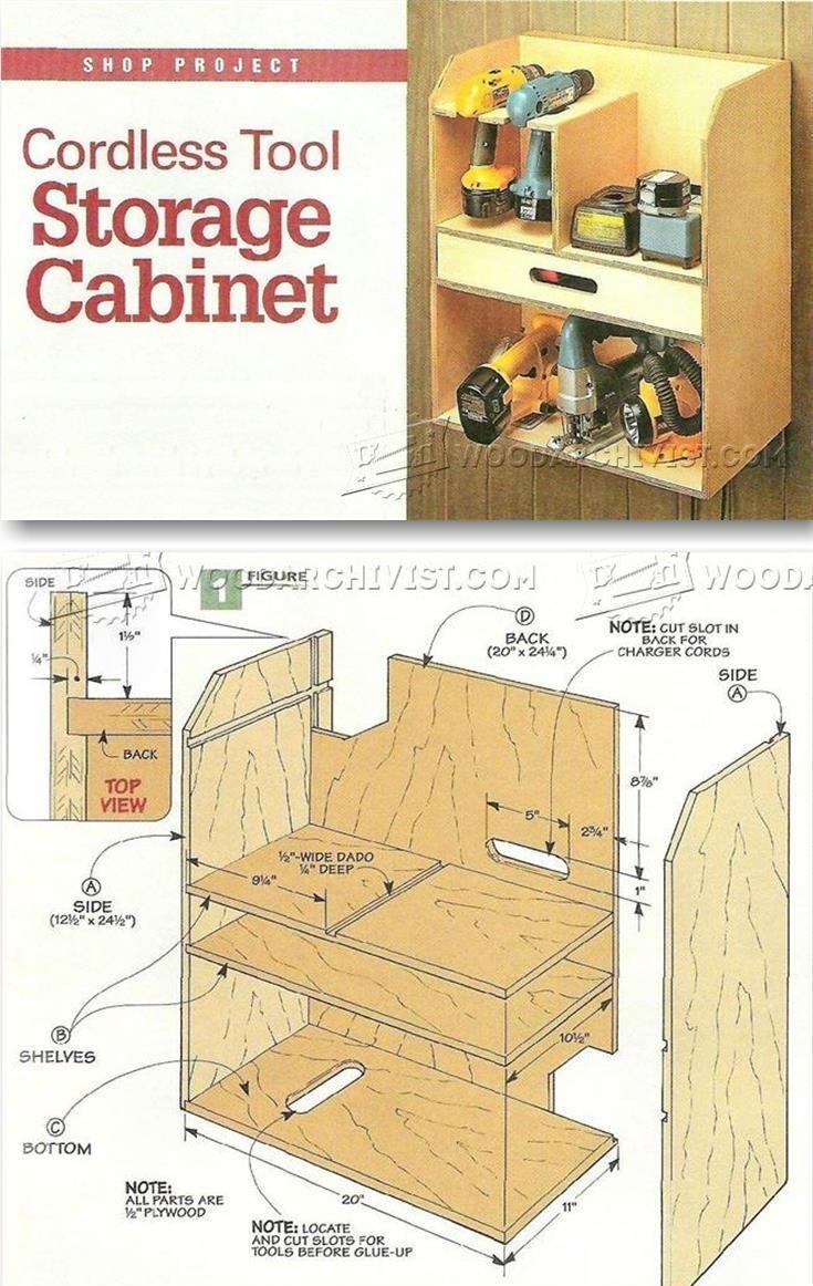 Cordless Tool Storage Cabinet Plans - Workshop Solutions Plans, Tips and Tricks   WoodArchivist.com